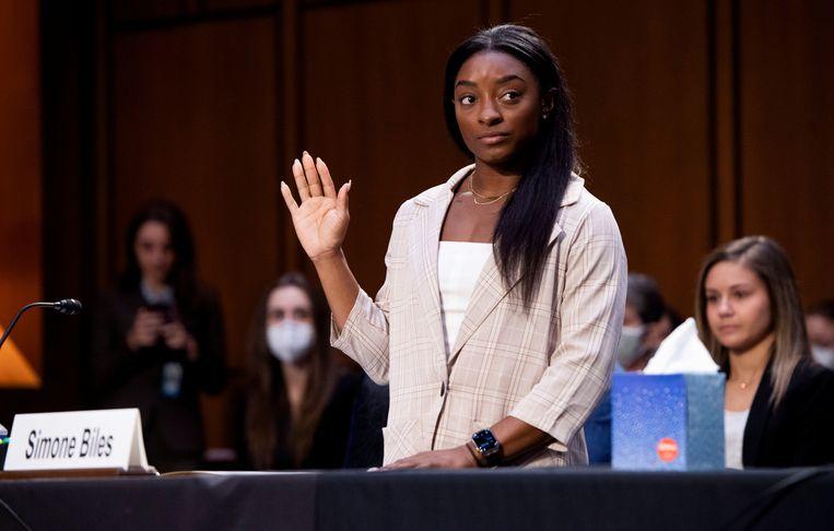 Meervoudig olympisch kampioene Simone Biles in het Amerikaanse Congres. Beeld REUTERS