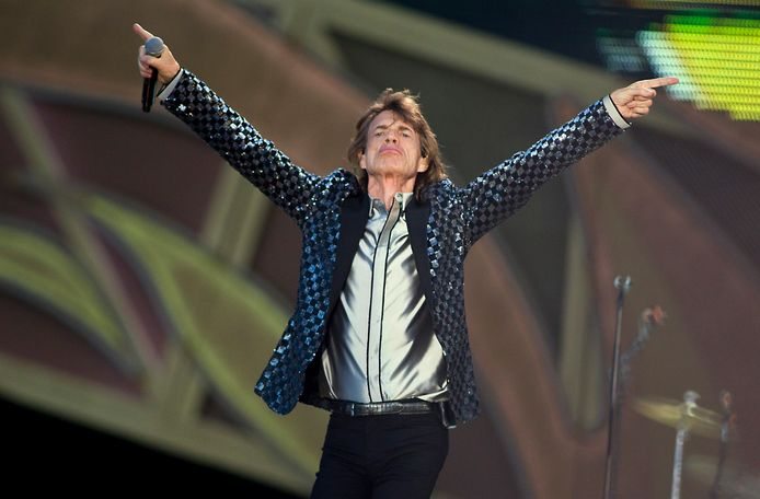 Mick Jagger van The Rolling Stones tijdens hun optreden bij de 45ste editie van Pinkpop.
