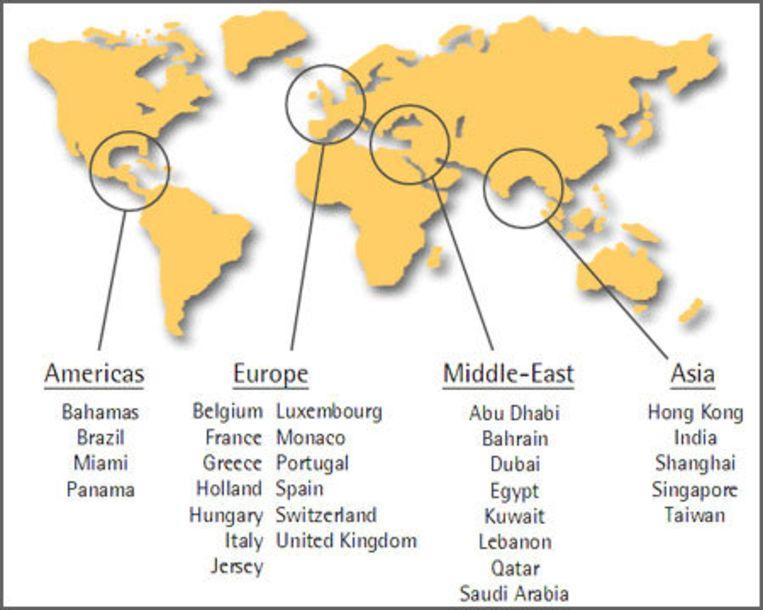 BNP Paribas heeft vestigingen in dertig landen. Graphic van website BNP Paribas Beeld