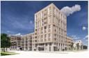 Impressie van het blok met 55 appartementen op de hoek Oostende en Kanaaldijk N.O. in het bouwplan Ons Oostende.