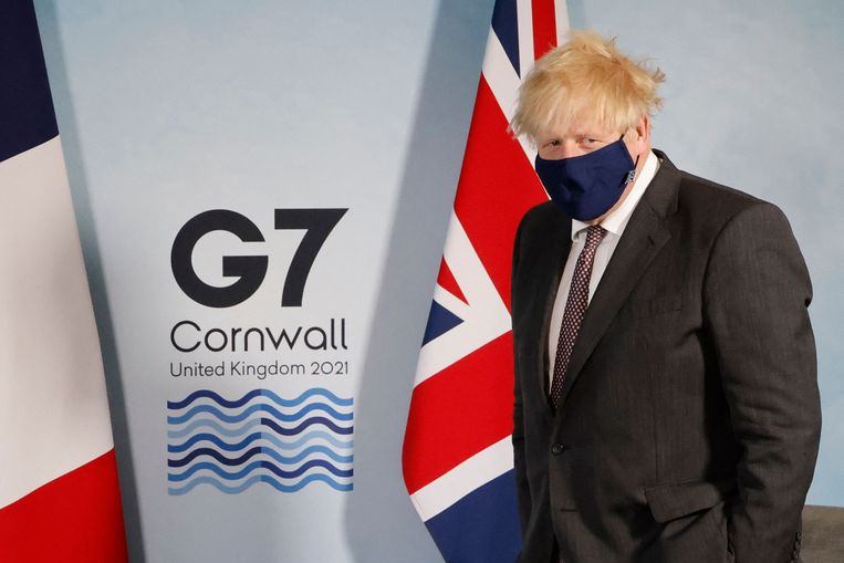 Boris Johnson op de G7 in Cornwall, die dit weekend plaatsvindt. Beeld AFP