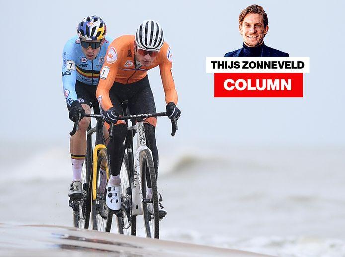 Mathieu van der Poel en Wout van Aert afgelopen zondag tijdens het WK veldrijden in Oostende. Van der Poel werd voor de vierde keer wereldkampioen.