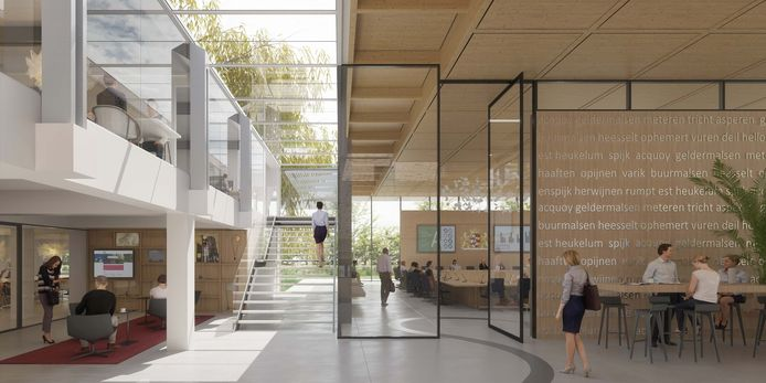 Het voorlopige ontwerp van het interieur van het gemeentehuis van West Betuwe in Geldermalsen.