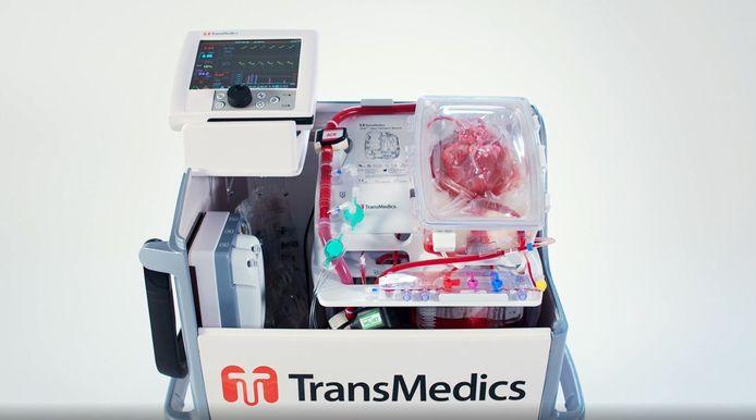 Een donorhart op de machine.