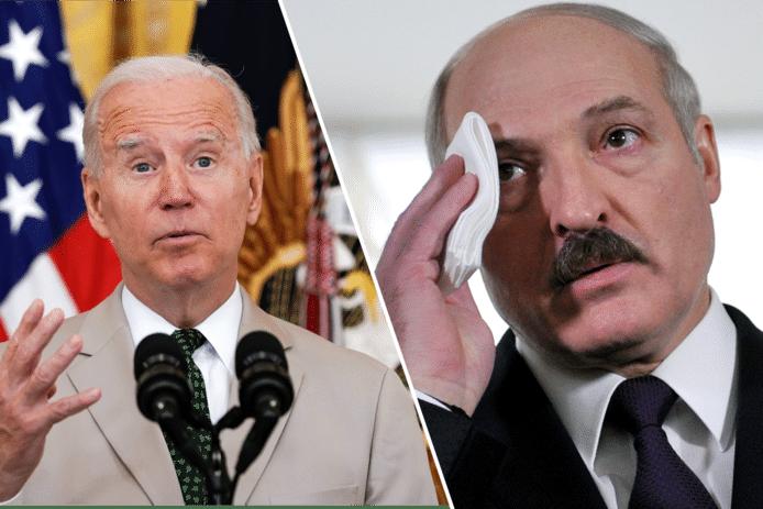 De Amerikaanse president Joe Biden en de Wit-Russische president Aleksandr Loekasjenko.