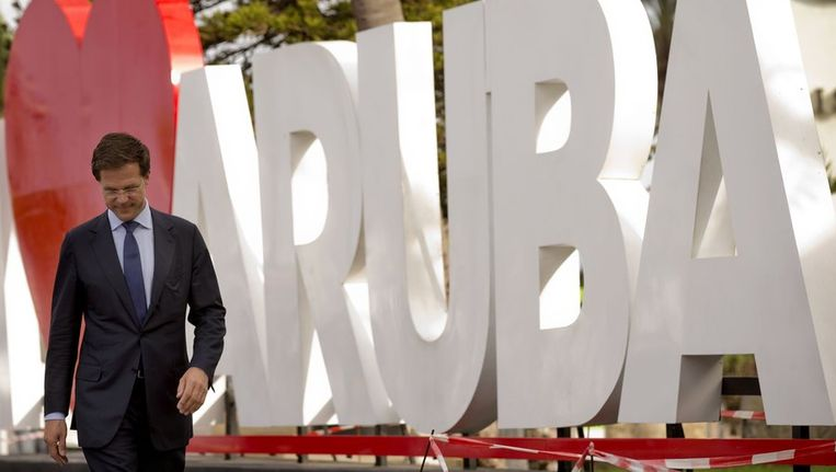 Minister-president Rutte maandag op Aruba. Beeld anp