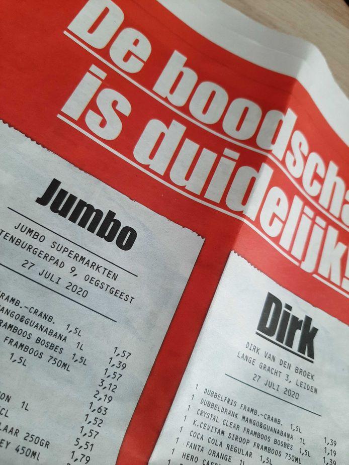 De paginagrote advertentie van Dirk die onder meer in het AD heeft gestaan.