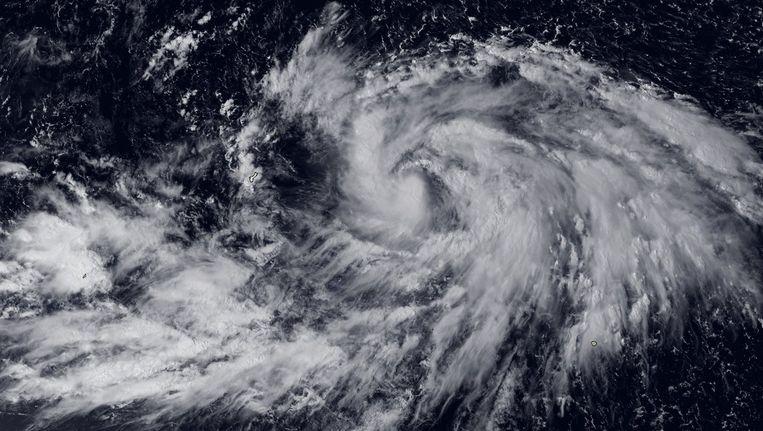 De tropische storm Phanfone op 30 september ten oosten van Guam in de Grote Oceaan. Beeld afp