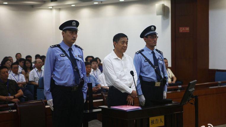 Bo Xilai tijdens het proces Beeld reuters