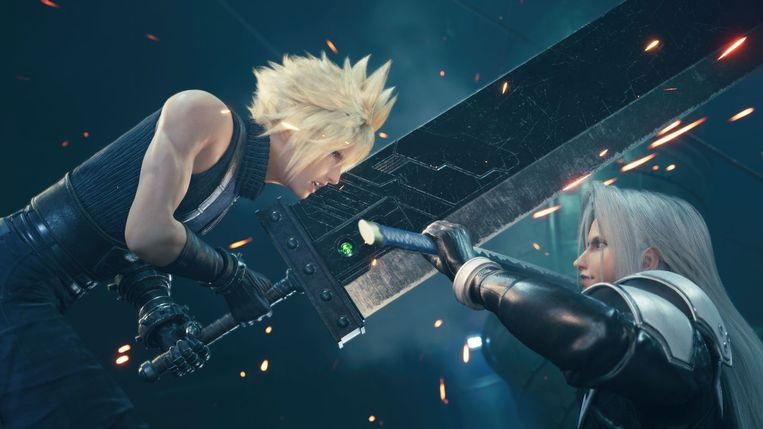 Knappe kapsels, levensgrote zwaarden: Final Fantasy-games zijn een curieuze mix van stijlen. De remake van aflevering VII is geen uitzondering. Beeld Square Enix
