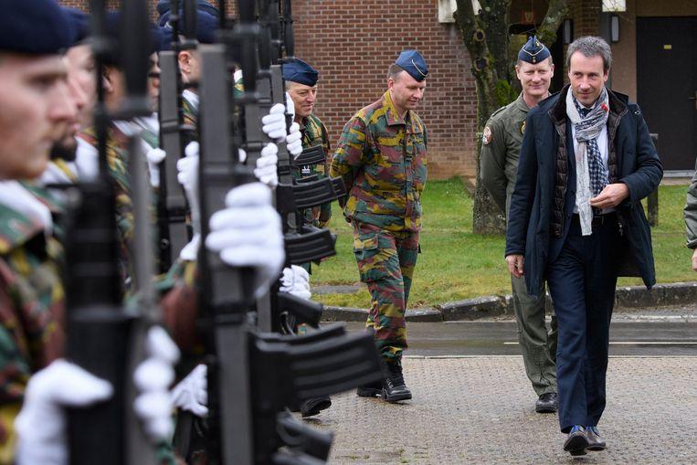 Bezoek van minister Philippe Goffin aan de vliegbasis van Florennes. Beeld Photo News