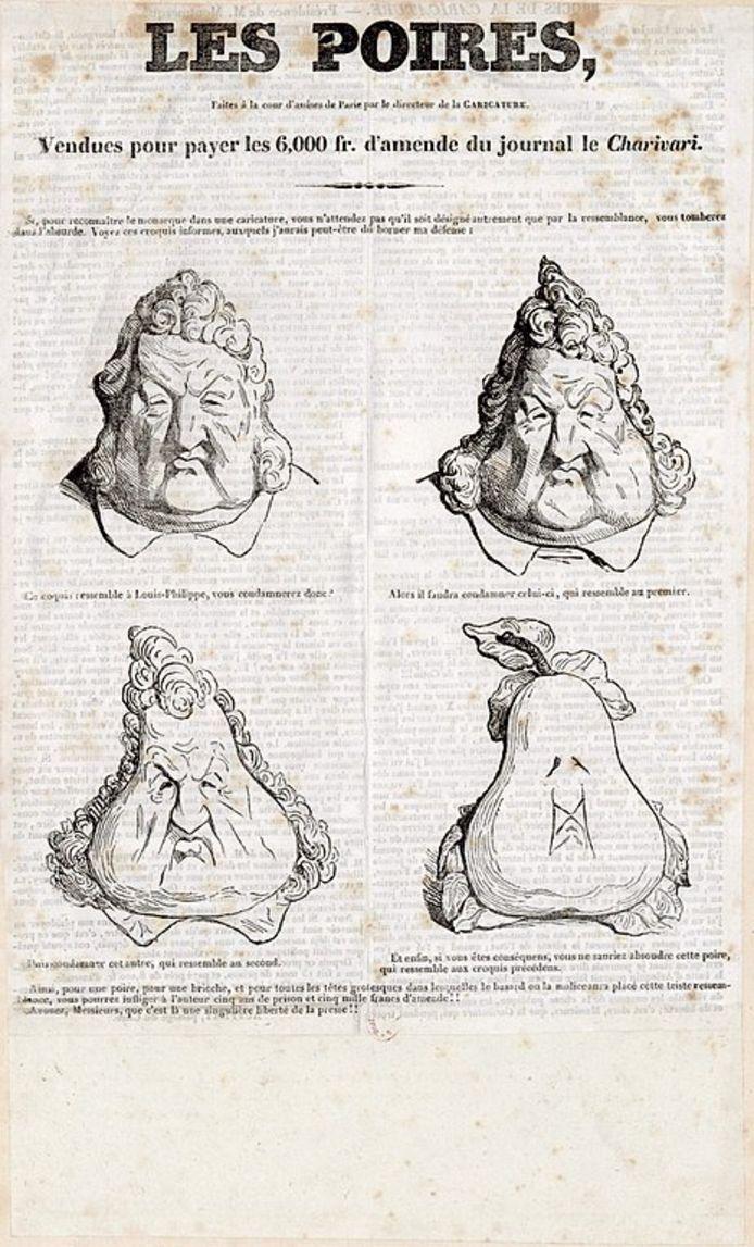 """""""Les Poires"""" (transformation caricaturale du roi Louis-Philippe)"""", 1831"""