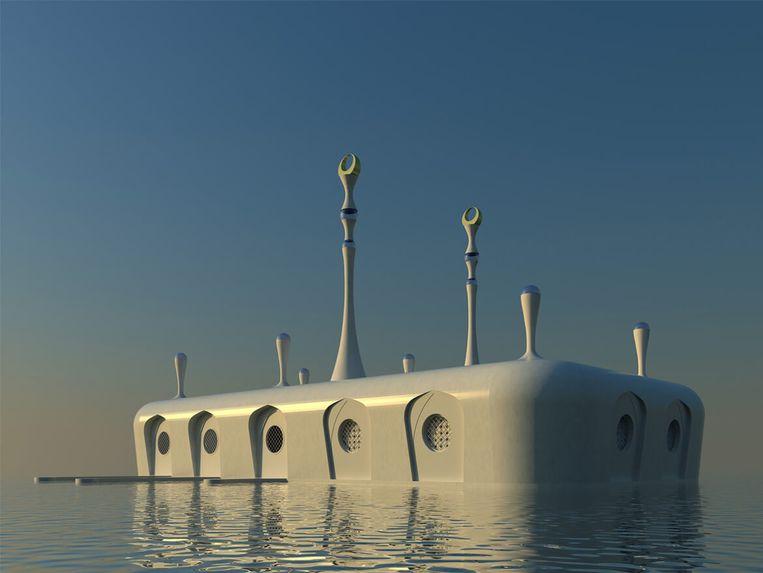 Drijvende moskee, ontworpen door Waterstudio voor de Verenigde Arabische Emiraten. Beeld Waterstudio.nl