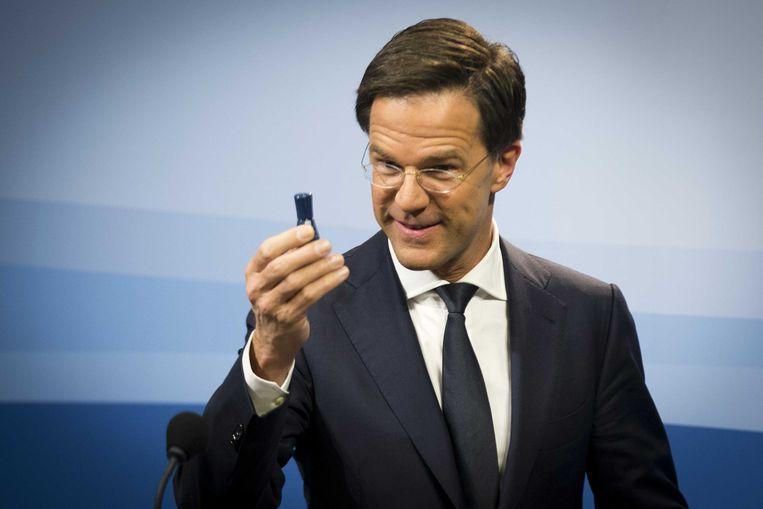 De Nederlandse minister-president Mark Rutte. Victor Lamme: 'Ik stem al jaren niet, want waarom zou ik op Rutte stemmen, een oud-geschiedenisstudent die even ergens op personeelszaken heeft gewerkt?' Beeld ANP