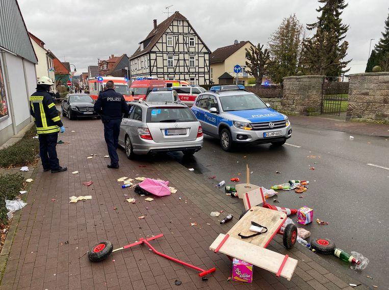 De ravage was groot na het inrijden van Maurice P. (29) in Volkmarsen. Beeld AFP