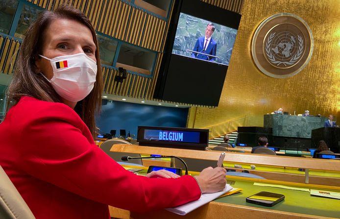 Sophie Wilmès à l'Assemblée générale des Nations Unies ce vendredi soir.
