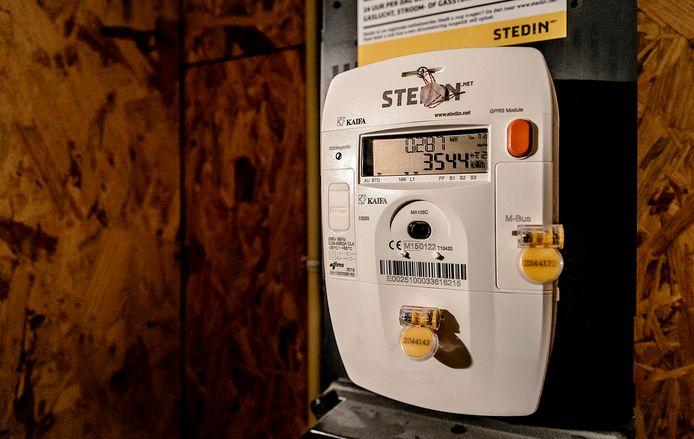 De energiemeter voor het stroomverbruik in een meterkast.