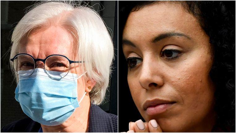 Annemie Moens (links) moet als co-curator het faillissement van Let's Go Urban afhandelen. Rechts oprichter van LGU Sihame El Kaouakibi. Beeld Belga