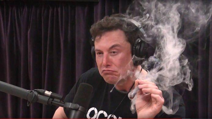 Elon Musk having a joint on the Joe Rogan Podcast.