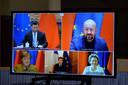 Vidéoconférence entre Charles Michel, Ursula von der Leyen, Angela Merkel, Emmanuel Macron et le président chinois XI Jinping.