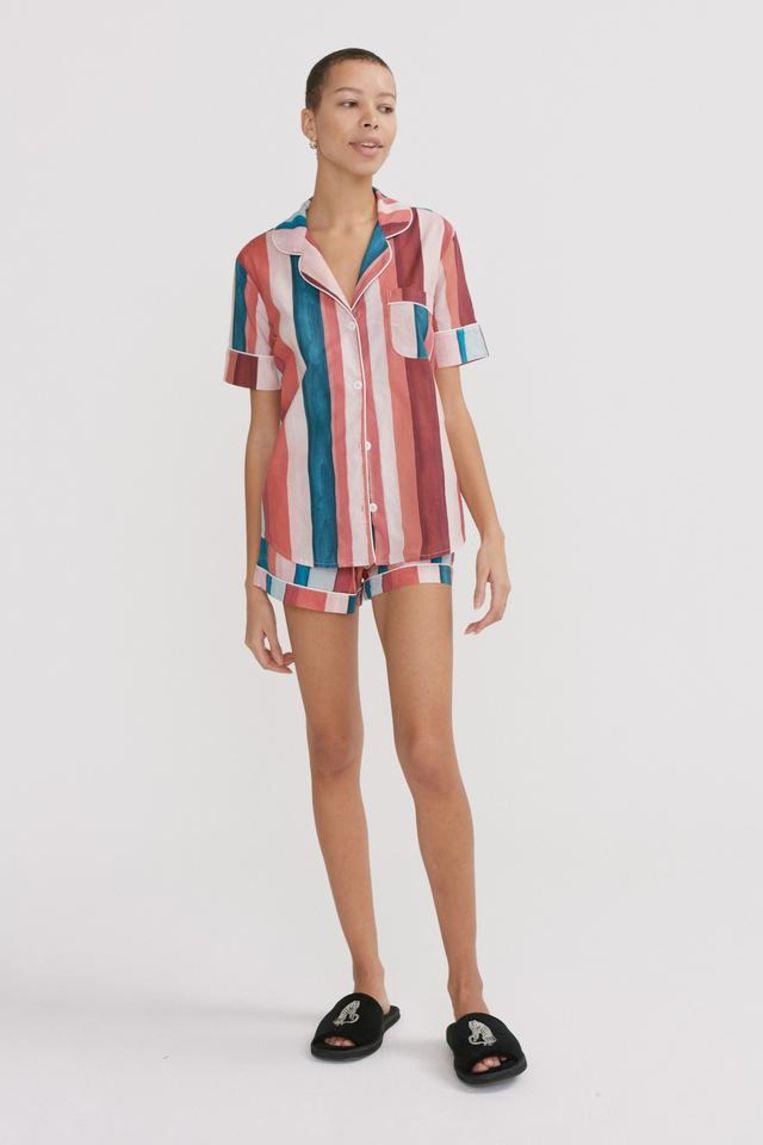 Desmond & Dempsey Short Pyjama Set, Medina Stripe Print Multi Beeld Desmond & Dempsey