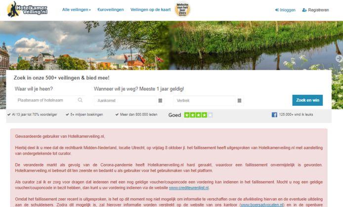 Screenshot Hotelkamerveiling.nl.
