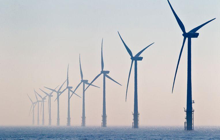 Een windmolenpark in zee. De stroom die zulke parken genereren moet worden opgeslagen op kunstmatige eilanden, is het plan van Tennet. Beeld anp