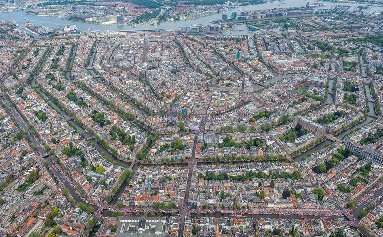 Het centrum van Amsterdam vanuit de lucht. Beeld ANP