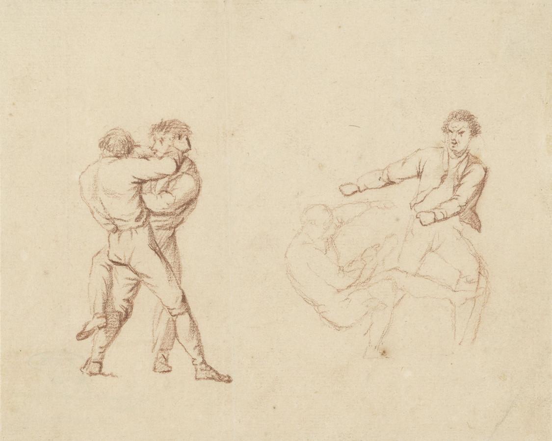 Vechtende mannen, studie in rood krijt van Barend Cornelis Koekkoek (1813-1862).