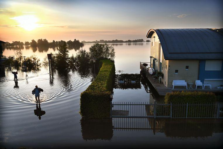 Amfibische woningen drijven door hoog water bij Maasbommel, 19 juli.  Beeld Marcel van den Bergh / VK