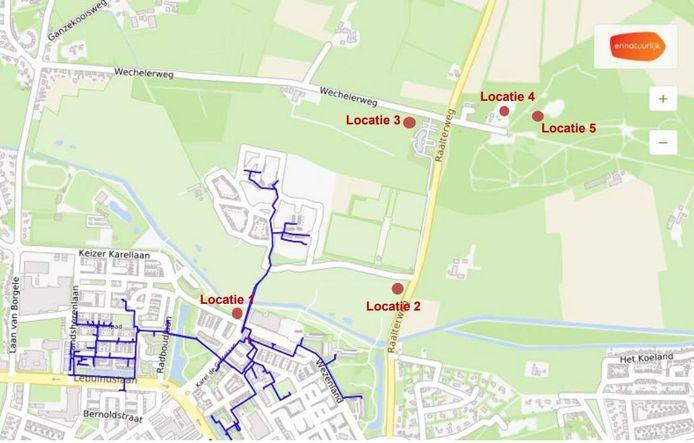 Overzicht van de mogelijke locaties van de te bouwen biomassacentrale die de warmte voor Steenbrugge moet leveren.