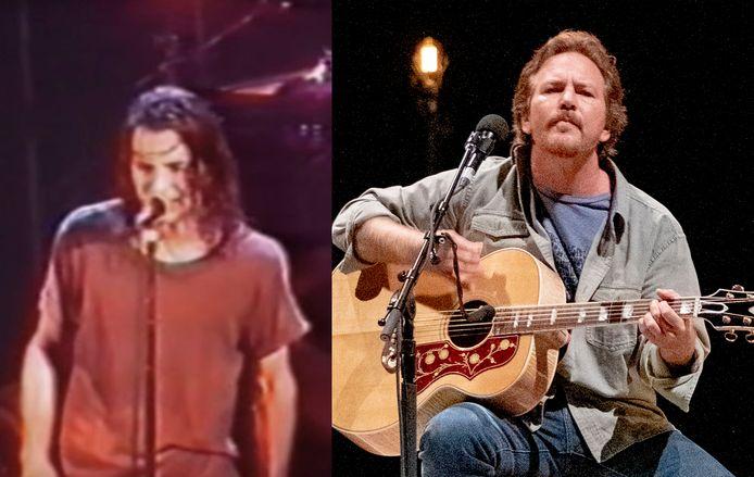 Eddie Vedder destijds in Tivoli en rechts tijdens het optreden in de Afas Live.