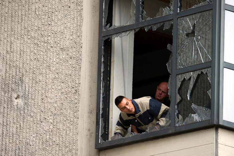 De schade na de aanslag op de Amsterdamse rechtbank in 2011. Beeld anp