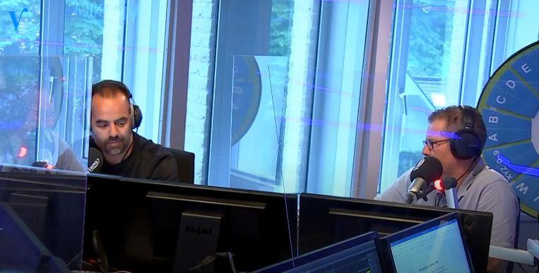 Radiopresentatoren Niels van Baarlen en Rick Romijn in het programma Veronica Inside. Beeld Veronica