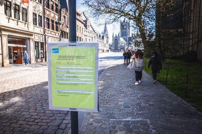 De stedenbouwkundige aanvraag  aan de Sint-Michielshelling.