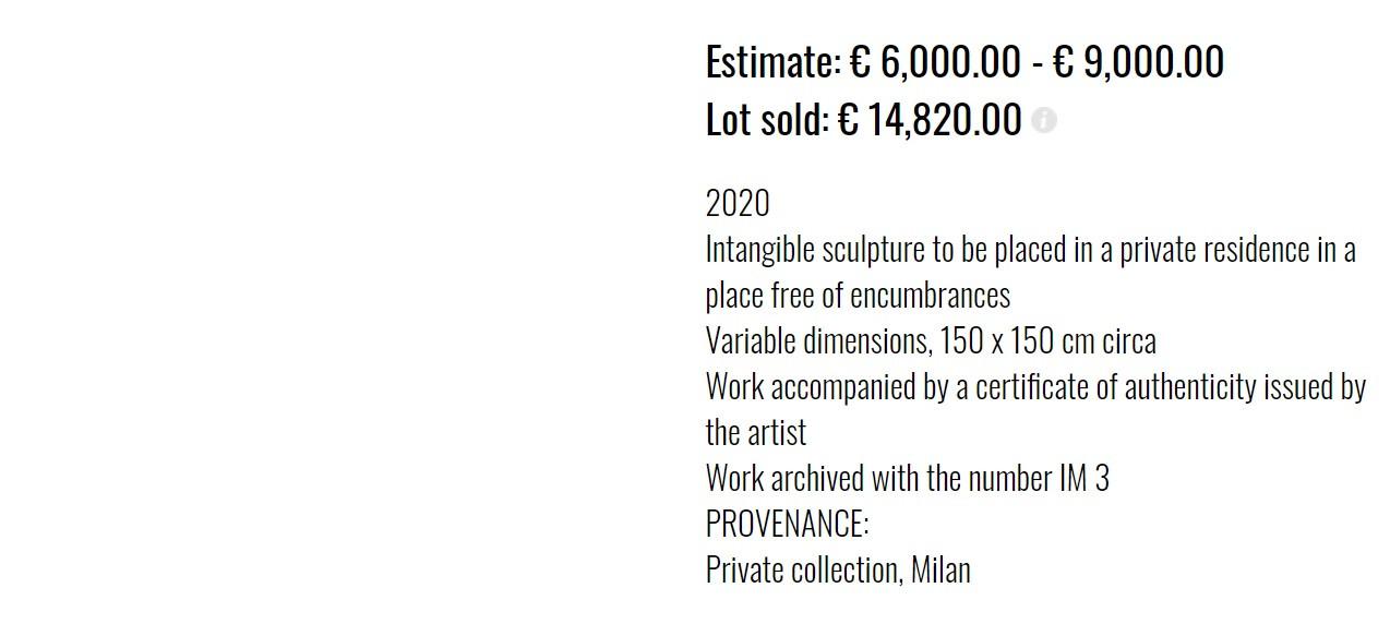 Daar het werk onzichtbaar is, staat er niets afgebeeld naast de beschrijving op de website van de kunstgalerie.