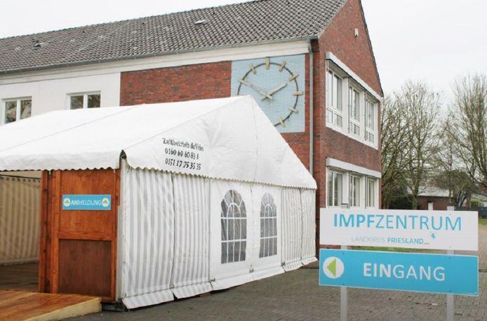 Het vaccinatiecentrum in Schortens bij Wilhelmshaven.