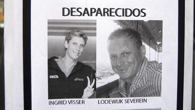 Een affiche voor de in Spanje vermiste oud-volleybalster Ingrid Visser en haar partner Lodewijk Severein Beeld ANP
