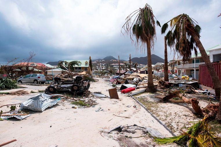 In september 2017 zorgde de orkaan Irma voor naar schatting 2 miljard dollar aan kosten op Saint-Martinique. Beeld AFP