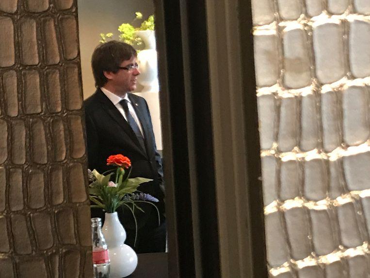 Carles Puigdemont is in Brugge voor de voorstelling van zijn verkiezingscampagne.