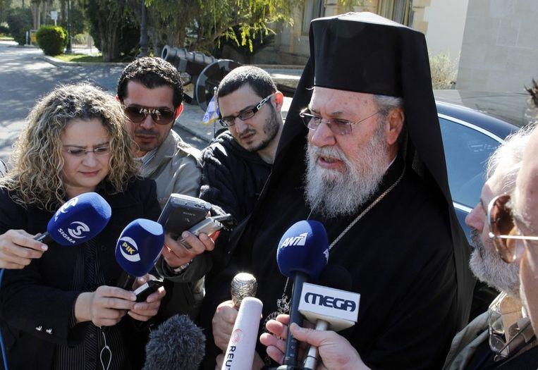 Chrysostomos II heeft alvast de hulp van de kapitaalkrachtige kerk aangeboden. Beeld EPA