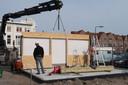 Frietkot De Fer aan de Haagweg is weer in opbouw na de brand begin oktober.