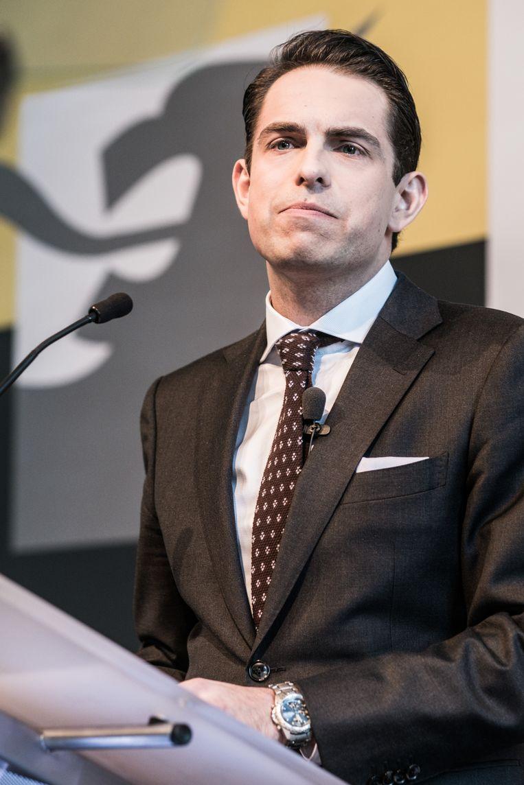 In België voert ook Vlaams-belang-voorzitter Tom Van Grieken een homovriendelijke koers. Beeld Bob Van Mol