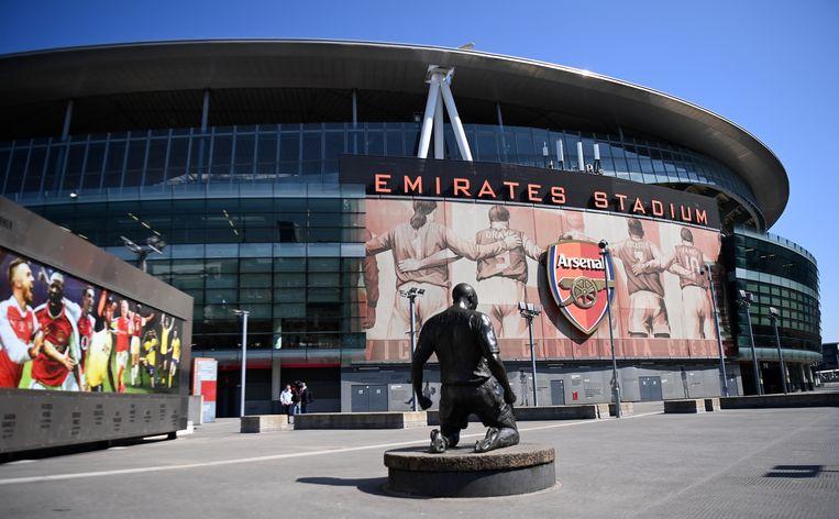 Het Emirates Stadion van Arsenal in Londen. De club wil zich bij de elite van de Super League scharen, maar staat zelf momenteel negende in de Premier League.  Beeld EPA