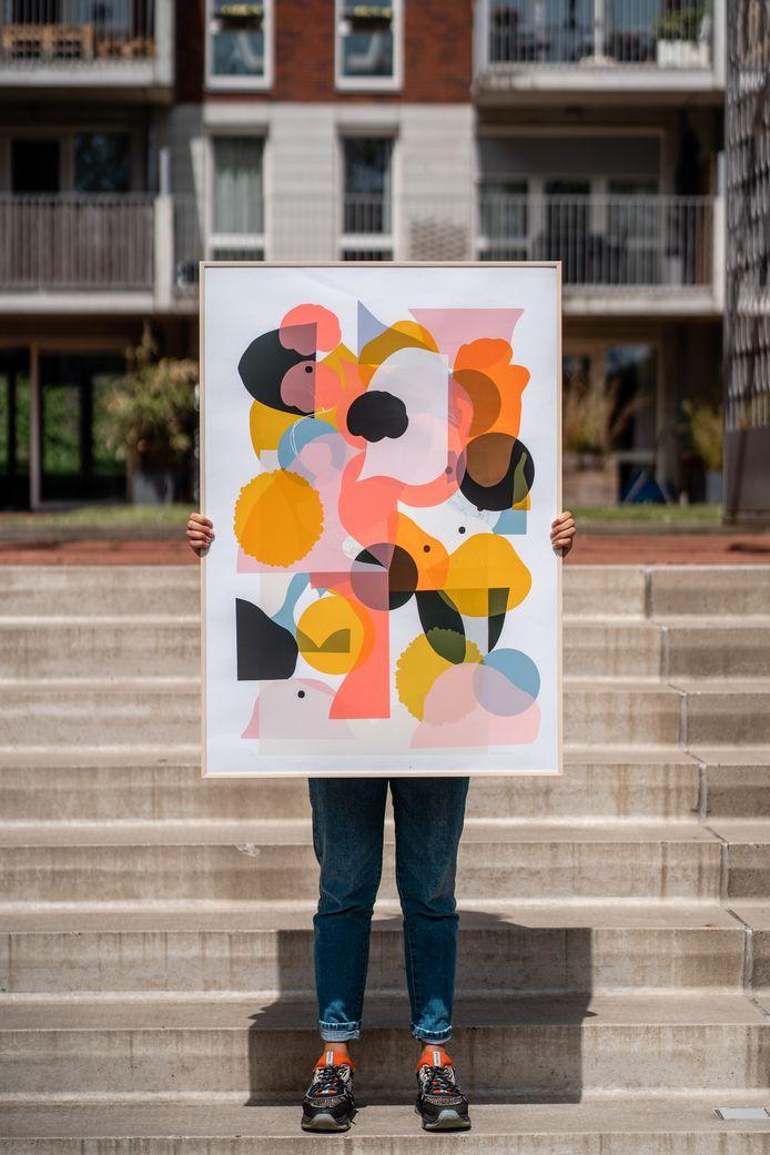 Werk van zeefdrukkunstenaar Mara Piccione, te zien in Blind Walls Gallery Gallery.