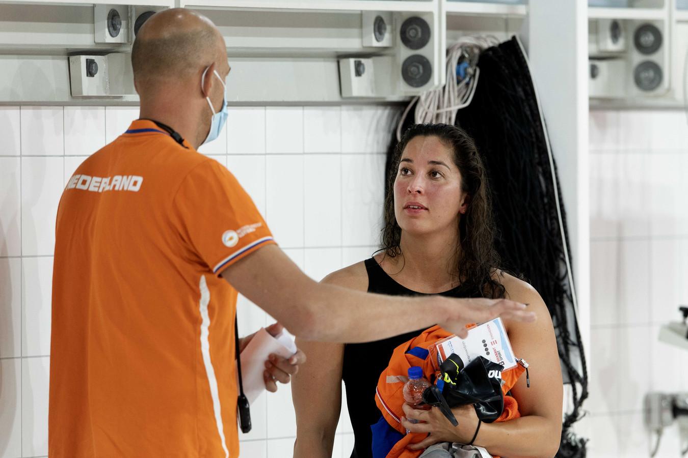 Ranomi Kromowidjojo en bondscoach Marcel Wouda.