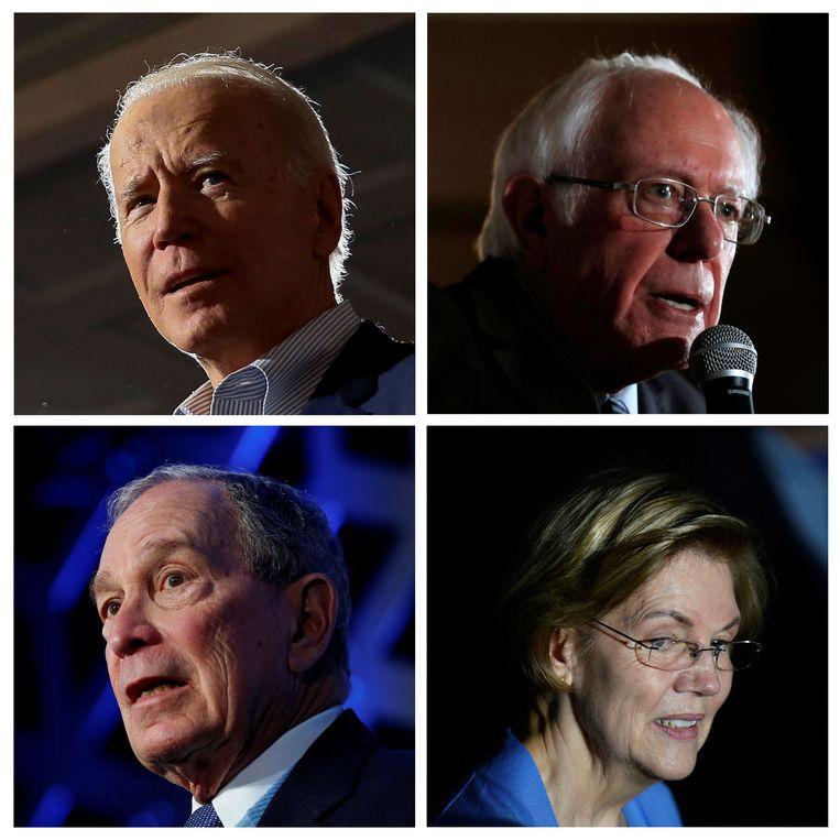 De vier belangrijkste Democratische presidentskandidaten: Joe Biden en Bernie Sanders boven, Mike Bloomberg en Elizabeth Warren onder. Beeld REUTERS