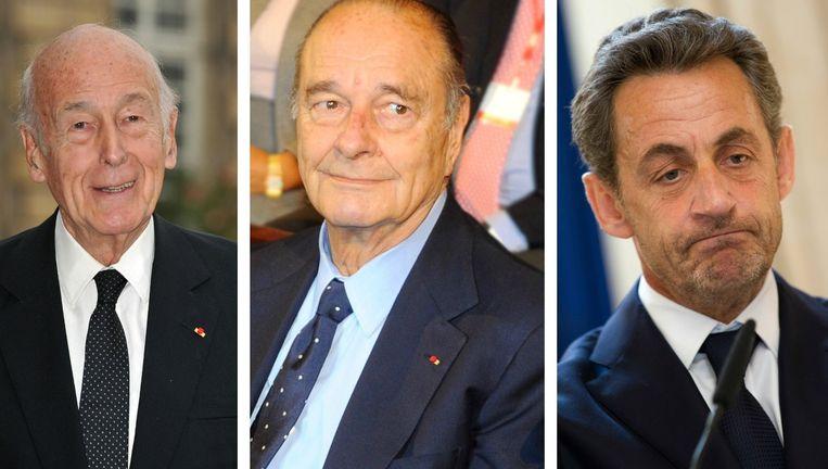 De liberaal Valéry Giscard d' Estaing, gaullist Jacques Chirac en partijgenoot Nicolas Sarkozy. Beeld PHOTO_NEWS