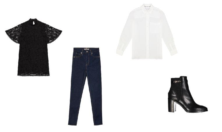 Merken die onder andere te vinden zijn in Designer Outlet Roosendaal zijn The Kooples (kanten jurkje), Levi's (skinny jeans), Calvin Klein (witte bloes) en Tommy Hilfiger (zwarte enkellaarsjes). Beeld