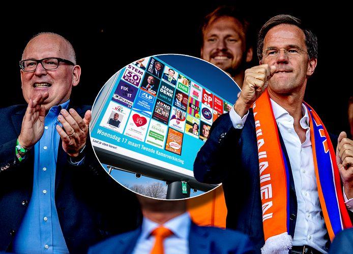 EK-finale voor vrouwen in 2017: Frans Timmermams en Mark Rutte (rechts) juichen.